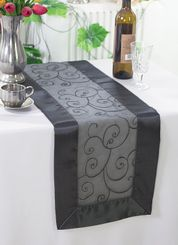 "12.75""x108"" Embroidered Organza Table Runner - Pewter / Charcoal 90260 (1pc)"
