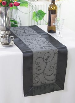 "12""x108"" Embroidered Organza Table Runner - Pewter / Charcoal 90260 (1pc)"