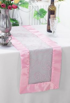 "12""x108"" Embroidered Organza Table Runner - Pink 90205(1pc)"