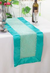 "12.75""x108"" Embroidered Organza Table Runner - Pool Blue 90278(1pc)"