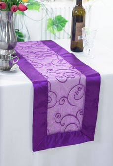 "12""x108"" Embroidered Organza Table Runner - Purple 90243 (1pc)"