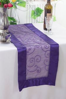 "12.75""x108"" Embroidered Organza Table Runner - Regency Purple 90263 (1pc)"