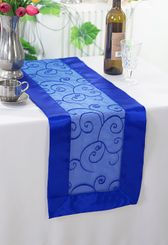 "12.75""x108"" Embroidered Organza Table Runner - Royal Blue 90222 (1pc)"