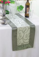 "12.75""x108"" Embroidered Organza Table Runner - Silver 90240 (1pc)"