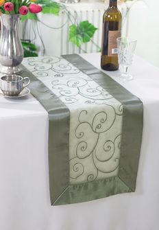 "12""x108"" Embroidered Organza Table Runner - Silver 90240 (1pc)"