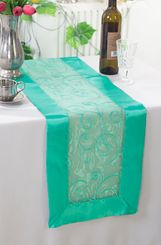 "12.75""x108"" Embroidered Organza Table Runner - Tiff Blue / Aqua Blue 90218(1pc)"