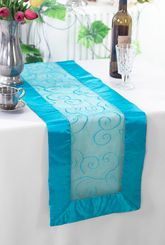 "12.75""x108"" Embroidered Organza Table Runner - Turquoise 90285 (1pc)"