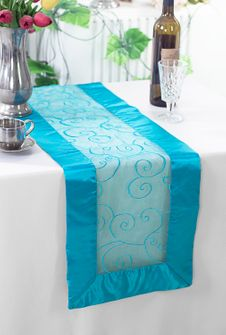 "12""x108"" Embroidered Organza Table Runner - Turquoise 90285 (1pc)"