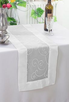 """12.75""""x108"""" Embroidered Organza Table Runner- White 90201 (1pc)"""