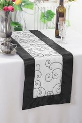 "12.75""x108"" Embroidered Organza Table Runner - White/Black 90269 (1pc)"