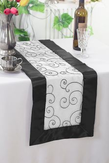"12""x108"" Embroidered Organza Table Runner - White/Black 90269 (1pc)"