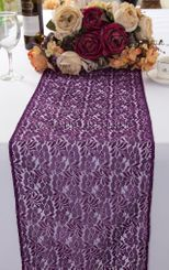"""12""""x108"""" Floral Raschel Lace Table Runners - Eggplant 91045 (1pc/pk)"""