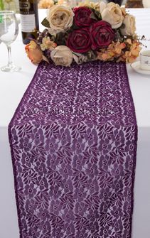 "12""x108"" Floral Raschel Lace Table Runners - Eggplant 91045 (1pc/pk)"