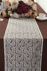 """12""""x108"""" Floral Raschel Lace Table Runners - Ivory 91002 (1pc/pk)"""