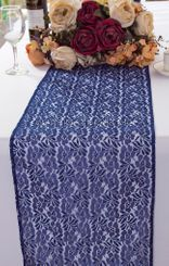 """12""""x108"""" Floral Raschel Lace Table Runners - Navy Blue 91023 (1pc/pk)"""