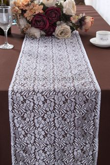 """12""""x108"""" Floral Raschel Lace Table Runners - White 91001 (1pc/pk)"""