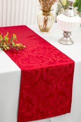 "12""x108""Jacquard Damask Polyester Table Runners - Apple Red 96108(1pc)"