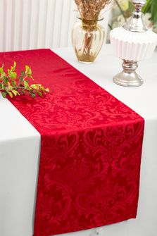 """12""""x108""""Jacquard Damask Polyester Table Runners - Apple Red 96108(1pc)"""