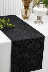 "12""x108""Jacquard Damask Polyester Table Runners - Black 96139(1pc)"
