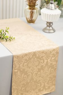 """12""""x108""""Jacquard Damask Polyester Table Runners - Champagne 96128(1pc)"""