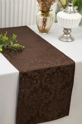 "12""x108""Jacquard Damask Polyester Table Runners - Chocolate 96191(1pc)"