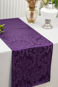 """12""""x108""""Jacquard Damask Polyester Table Runners -  Eggplant 96145(1pc)"""