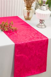 "12""x108"" Jacquard Damask Polyester Table Runners - Fuchsia 96109(1pc)"