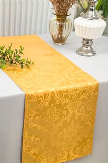 """12""""x108""""Jacquard Damask Polyester Table Runners - Gold 96127(1pc)"""
