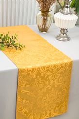 "12""x108""Jacquard Damask Polyester Table Runners - Gold 96127(1pc)"