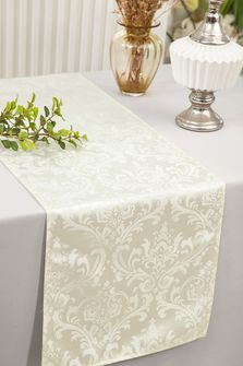 "12""x108""Jacquard Damask Polyester Table Runners - Ivory 96102(1pc)"