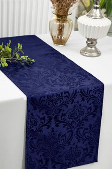 """12""""x108""""Jacquard Damask Polyester Table Runners - Navy Blue 96123(1pc)"""