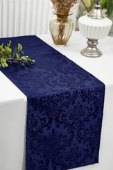 "12""x108""Jacquard Damask Polyester Table Runners - Navy Blue 96123(1pc)"