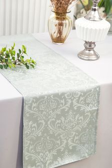 "12""x108""Jacquard Damask Polyester Table Runners - Silver 96140(1pc)"