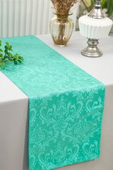 "12""x108""Jacquard Damask Polyester Table Runners - Tiff Blue / Aqua Blue 96118(1pc)"