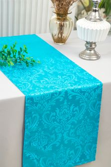 """12""""x108"""" Jacquard Damask Polyester Table Runners - Turquoise 96185(1pc)"""