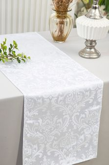 """12""""x108""""Jacquard Damask Polyester Table Runners - White 96101(1pc)"""