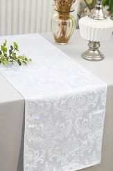 "12""x108""Jacquard Damask Polyester Table Runners - White 96101(1pc)"