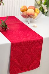 """12""""x108"""" Damask Marquis Jacquard Polyester Table Runners - Apple Red 98108(1pc)"""