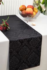 """12""""x108"""" Damask Marquis Jacquard Damask Polyester Table Runners - Black 98139 (1pc)"""