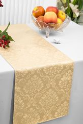 """12""""x108"""" Damask Marquis Jacquard Polyester Table Runners - Champagne 98128(1pc)"""