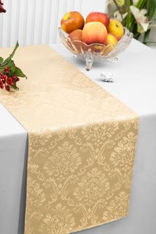 "12""x108"" Damask Marquis Jacquard Polyester Table Runners - Champagne 98128(1pc)"