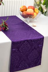 """12""""x108"""" Damask Marquis Jacquard Polyester Table Runners - Eggplant 98145 (1pc)"""