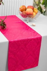 """12""""x108"""" Damask Marquis Jacquard Polyester Table Runners - Fuchsia 98109 (1pc)"""
