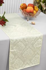 """12""""x108"""" Damask Marquis Jacquard Polyester Table Runners - Ivory 98102 (1pc)"""