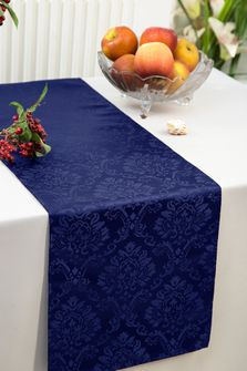 """12""""x108"""" Damask Marquis Jacquard Polyester Table Runners - Navy Blue 98123(1pc)"""