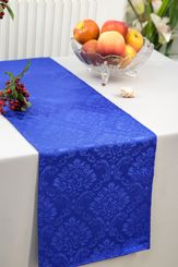 """12""""x108"""" Damask Marquis Jacquard Polyester Table Runners - Royal Blue 98122 (1pc)"""