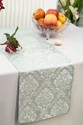 """12""""x108"""" Damask Marquis Jacquard Polyester Table Runners - Silver 98140 (1pc)"""