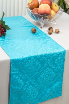 """12""""x108"""" Damask Marquis Jacquard Polyester Table Runners - Turquoise 98185 (1pc)"""