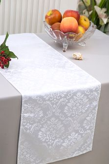 """12""""x108"""" Damask Marquis Jacquard Polyester Table Runners - White 98101(1pc)"""