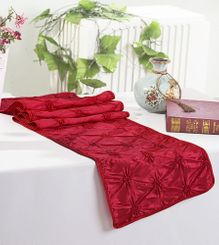 "12""x108"" Pinchwheel Taffeta Table Runner - Apple Red 66208 (1pc)"